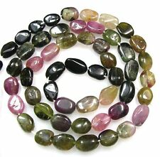 """ALL NATURAL MULTI TOURMALINE SMOOTH OVAL BEADS 14.5""""  T10"""