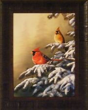 WINTER REFUGE - CARDINAL by Jim Hansel Bird Snow Tree 17x21 FRAMED PRINT