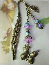 Beaded Bookmark Butterfly Leaf Flower Handmade Bronze Designs Gift Idea