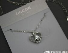 White Gold Plated Cubic Zirconia Cluster Heart Delicate Necklace UK New 18""