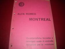 """ALFA ROMEO MANUALE """"MONTREAL QUOTE DI CONTROLLO E REVISIONE """"1971 - COPIE 1000"""