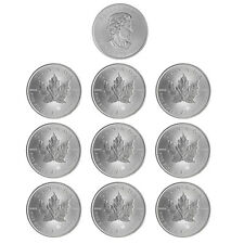 10x 1 oz Silber Maple Leaf 2017 - 5 Dollar Kanada Stempelglanz Silbermünze 999,9