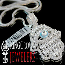 Men's Ladies Solid .925 Sterling Silver Evil Eye Hamsa Hand Charm Necklace Chain