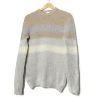 REISS Pure Lambswool Mens Sweater Jumper Size S Small Beige Striped Crew Neck