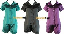 Satin Patternless Pajama Sets for Women