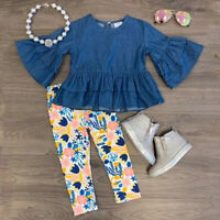 US Toddler Kid Baby Girl Denim Outfits Clothes Dress Tops Floral Leggings Pants