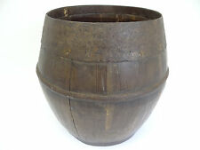 Antique Wood Iron Metal Slated Signed Chinese Asian Qing Dynasty Bowl Barrel