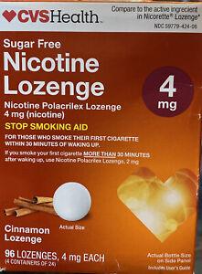 CVS 4mg Cinnamon Sugar Free 96 Nicotine Lozenges Exp 5/21