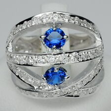 MODERN! BLUE SAPPHIRE & WHITE SAPPHIRE STERLING 925 SILVER RING SIZE 6.5