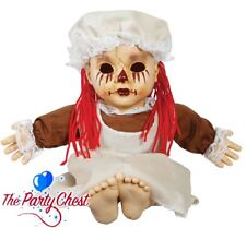 HAUNTED TRAGEDY SAL TALKING RAG DOLL Scary Halloween Party Prop With Sound 6563F