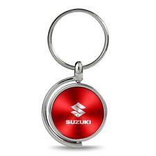 Suzuki Red Brushed Metal Spinner Key Chain