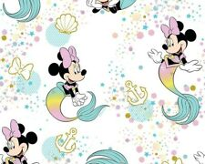 MINNIE MOUSE MERMAID Disney WIDE Fabric by Little Johnny 100% Cotton, kids