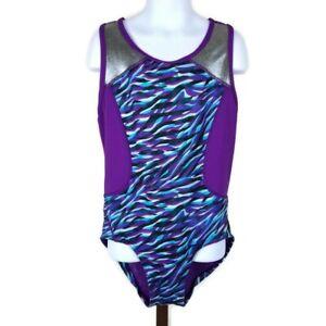 Ivivva By Lululemon Purple Zebra Print Dance Gymnastics Leotard Girls Size 12