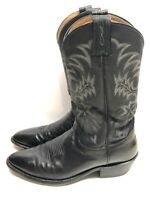 Men's Tony Lama Cowboy Boots Black Leather 7900 Size 9 B Hand Crafted Embroider