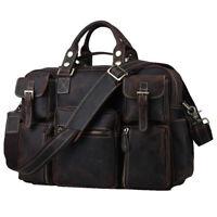"""Vintage Leather Luggage Large Capacity 16"""" Laptop Shoulder Bag Travel Briefcase"""