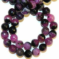 GR2143L2 Fuchsia Agate & Crystal Quartz 12mm Faceted Round Gemstone Beads 15""