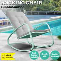 Rocking Chair Outdoor Patio Rocker Garden Metal Seat Furniture Padded Cushion US
