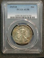 1929-D Walking Liberty Half Dollar PCGS AU58 Nice Natural Original Toning