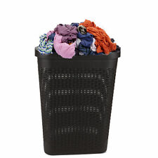 Mind Reader 40 Liter Slim Closet Laundry Basket Hamper with Cutout Handles Brown