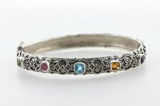 Scroll Design Sterling Silver 925 Multi Color Gemstones Bangle Bracelet - 6.5""