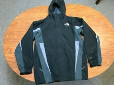BOYS USED THE NORTH FACE HYVENT ZIP UP HOODED BLACK RAIN JACKET YOUTH SIZE XL
