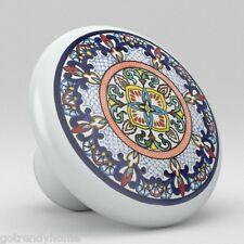 Round Talavera Design Ceramic Knobs Pulls Kitchen Drawer Cabinet Dresser 1205