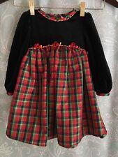 Rose Cottage Girl's 24 Month Red Tartan Black Velvet Holiday Christmas Dress