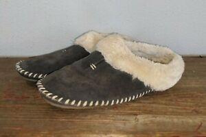 Minnetonka Womens Dark Gray Suede Faux Fur Lined Slippers Slides Slip On Sz 7