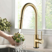 Brushed Gold Kitchen Sink Faucet Swivel Pull Out Sprayer Single Handle Mixer Tap