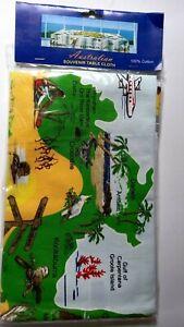 Australia souvenir tablecloth green and yellow map design 88cmX88cm cotton