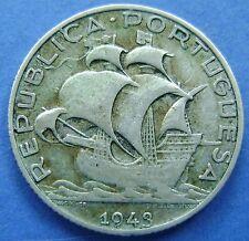 Portugal - 2 1/2 escudos 2,50 escudos 1943 Silver -  KM# 580