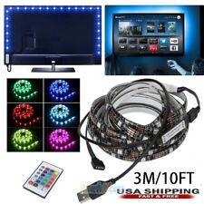 3M/10FT 5V 5050 RGB LED Strip Light Bar w/ Remote Control TV Back Lighting Kit