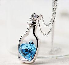 Damen Kristall Strass Halskette Herz Flasche Anhänger Kette Schmuck wünsch