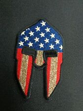 SPARTAN HEAD WITH USA FLAG MILITARY VETERAN EMBROIDERED PATCH