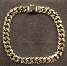 9ct Gold Curb Bracelet Cuban Curb Stone Set - Gift Boxed  7.8mm wide 18.5 grams