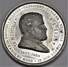 1885 Ulysses S Grant Memorial Medal Large 62.5mm White Metal