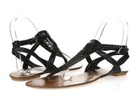 Womens Dolce Vita Black Leather Thong Flat Sandals Buckle Shoes Size 8.5 New