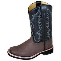 Smoky Mountain Boys Tyler Square Western Cowboy Boot, 6.5 Big Kid - Brown/Black