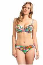 38D-FREYA-DAYDREAMER-BIKINI BRA+MEDIUM-UK-12-CLASSIC-PANT-SET-GREEN-MULTI-AZURE