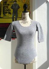 Vintage Body Silber Bluse Tanz XS S 80s Disco Shirt Silver Top Bodysuit Glitzer