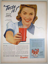 Vintage 1941 CAMPBELL'S TOMATO JUICE Large Full Page Magazine Print Ad