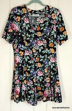 D.B.Y. Trendy Vintage 80s Floral Vintage Pearl Button Shorts Romper Fits M L VTG