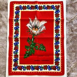 Vintage Retro MJ Maurey Red Folk Art Anemone Primaverile Tea Towel Floral