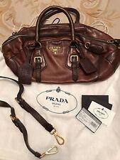 PRADA BAULETTO Cervo Antik Cacao Shoulder Crossbody Bag Beautiful Rich Leather