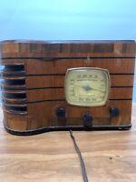 Antique c. 1937 Emerson Tube Radio Ingraham Wood R-167 Police Band Kilocycles