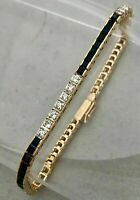 15 Ct Blue Sapphire & Diamonds Vintage Tennis Bracelet 14K Yellow Gold Over