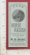 A621 R. D. Bisbee Horse Radish jar label c 1895 Chesterfield, MA food relish