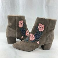 Steven by Steve Madden Women's Brooker Floral Ankle Boot Grey Suede sz 7.5 M US
