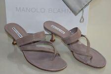 New Manolo Blahnik SUSA 5 Beige Suede Slide Kitten Heels Sandals Shoes 40.5