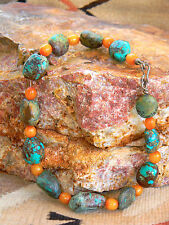 Authentic Bisbee Blue Smoky Nugget Turquoise & Amber Bead Silver Necklace $14000